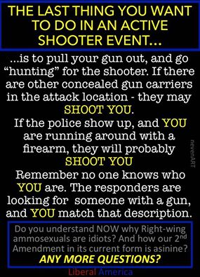 Why you don't take your gun out in an active shooter situation.