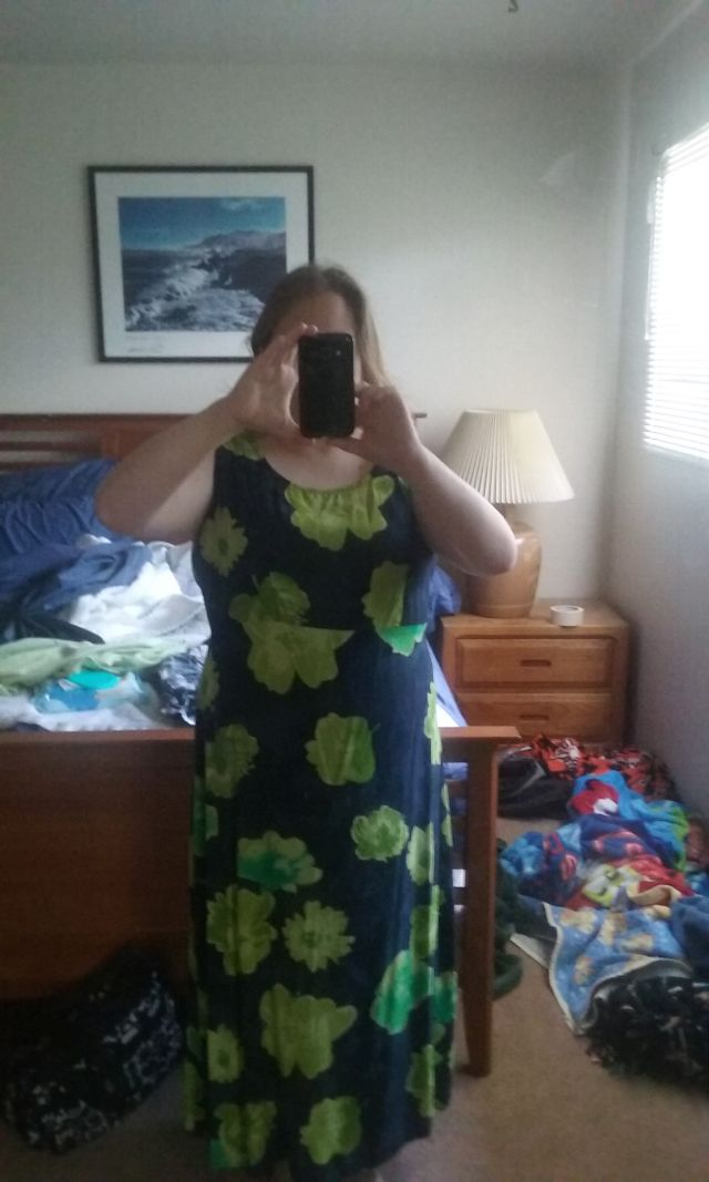 A full-length shot.  Pardon the messy room and unmade bed.
