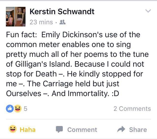 Emily Dickinson to the tune of a well-known TV theme...