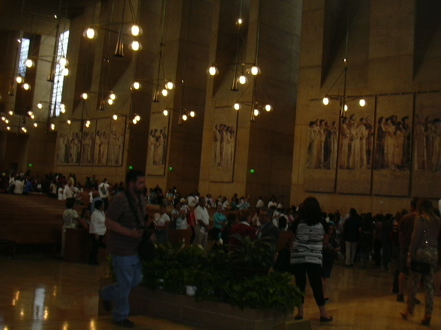 A shot of the tapestries on one side of the sanctuary of the Cathedral of Our Lady of the Angels in downtown LA
