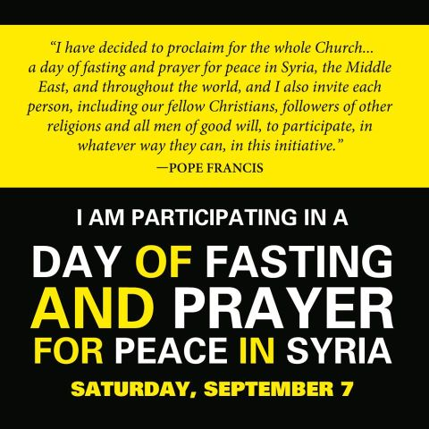 Fasting for peace on September 7th.