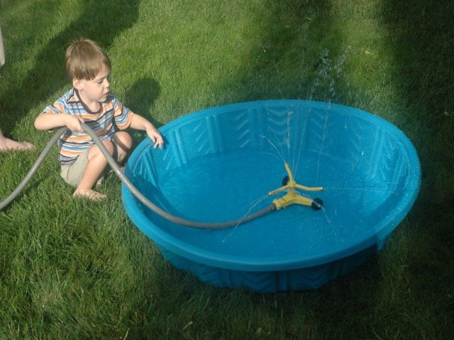 Investigating his wading pool.