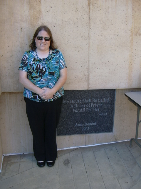 Me outside the cathedral with the cornerstone.