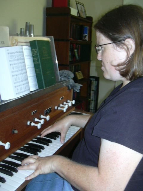 Me pretending to play the organ.