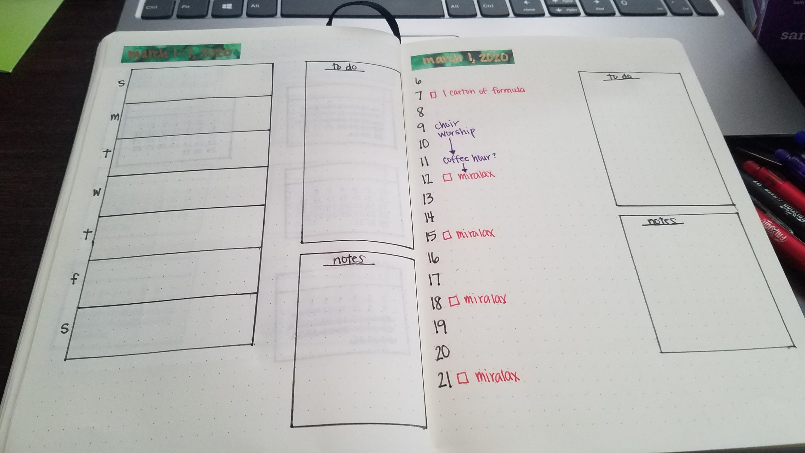 My weekly and daily layouts.