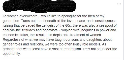 An apology from a man.
