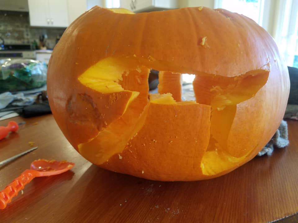 The pumpkin pi(e) I made for my dad.