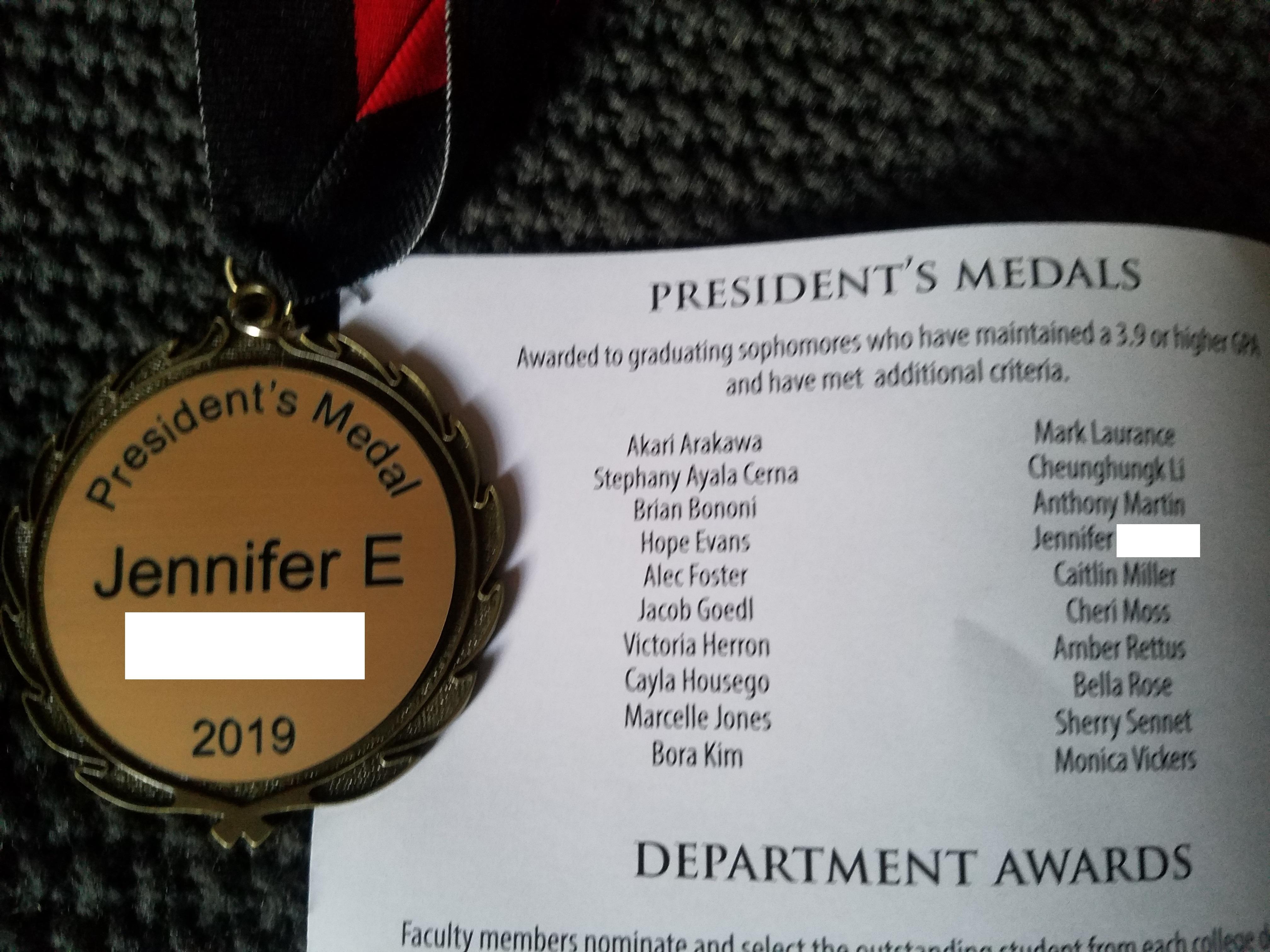 Redacted medal